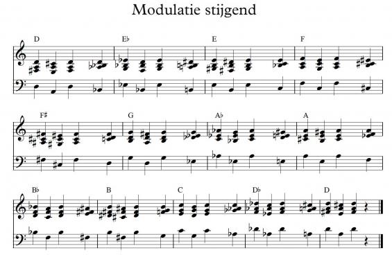 Modulatie stijgend - ondersteuning piano