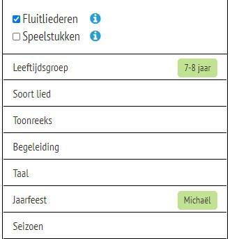 Screenshot fluitliederen zoeken
